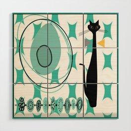 Mid-Century Modern Atomic Art - Teal - Cat Wood Wall Art