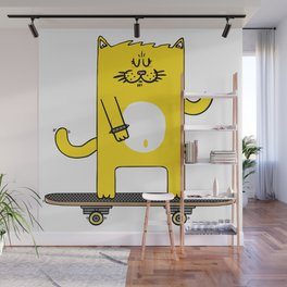 Cat on skateboard Wall Mural