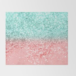 Summer Vibes Glitter #1 #coral #mint #shiny #decor #art #society6 Throw Blanket