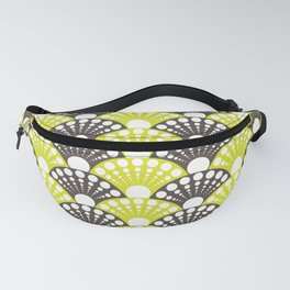 brown and lime art deco inspired fan pattern Fanny Pack