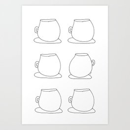 Coffee Illustration Tea Cups Pattern - Drink Coffee, Have Some Tea, Talk About Love Art Print