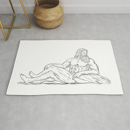 Heracles Reclining Side Drawing Black and White Rug