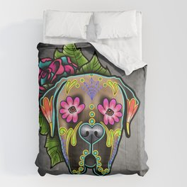 Mastiff in Fawn - Day of the Dead Sugar Skull Dog Comforters
