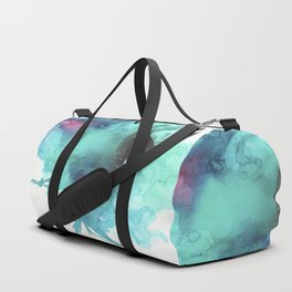 Blue Splash Abstract Watercolor Art Duffle Bag