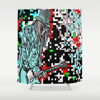 heavy metal Shower Curtains featuring Abstract Heavy Metal Rocks by Saundra Myles