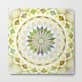 Flower Patchwork Kaleidoscope Lemon Yellow Metal Print