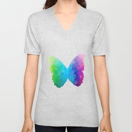 Watercolor Butterfly Unisex V-Neck
