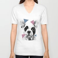 frenchie V-neck T-shirts featuring Frenchie by Esco