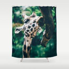 Green Portrait Of A Giraffe Shower Curtain
