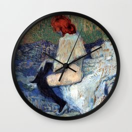 """Henri de Toulouse-Lautrec """"Red-Haired Woman on a Sofa"""" Wall Clock"""