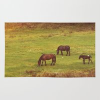horses Area & Throw Rugs featuring Horses by SensualPatterns