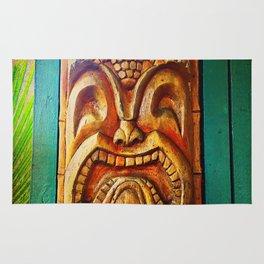 Crazy, fun, fierce, Hawaiian retro wood carving tiki face close-up Rug