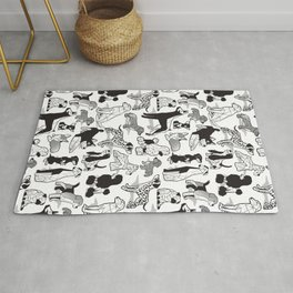 Geometric sweet wet noses // white background black and white dogs Rug