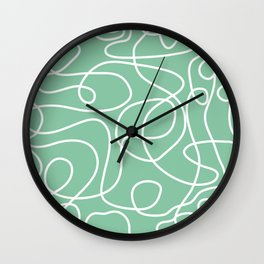 Doodle Line Art | White Lines on Bright Green Wall Clock