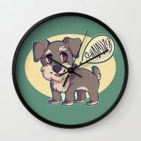 schnauzer Wall Clocks featuring Schnauzer! by Cargorabbit