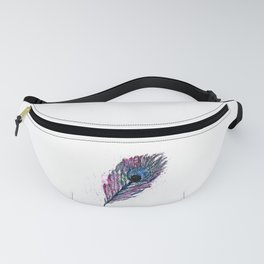 Watercolour Peacock Feather Fanny Pack