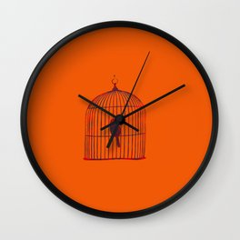 Orange Birdcage Wall Clock