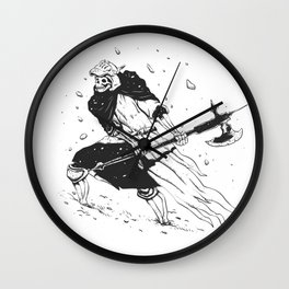Skull knight in the snow - black and white - medieval grim reaper Wall Clock