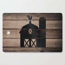Black Rustic Barn & Rooster Cutting Board
