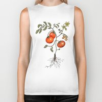 botanical Biker Tanks featuring Tomato Botanical by CHAR ODEN