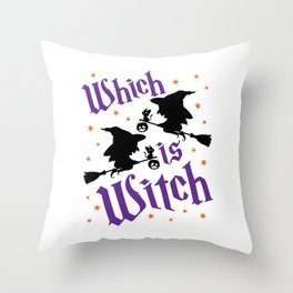 Halloween Twins Witch Which is Witch Throw Pillow