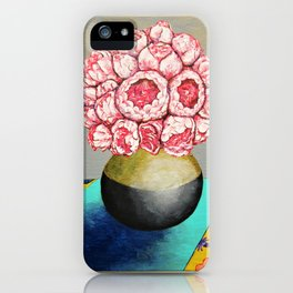Erin's Peonies by Mike Kraus - art peony flowers gardens flora pink grey yellow blue beautiful still iPhone Case