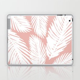 White Tropical Palm Tree Fern Leaf on Rose Gold Pattern Laptop & iPad Skin