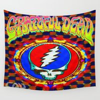 grateful dead Wall Tapestries featuring Grateful Dead #8 Optical Illusion Psychedelic Design by CAP Artwork & Design