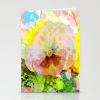 water colour Stationery Cards featuring Artistic Water colour Pansy by thea walstra