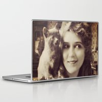 thundercats Laptop & iPad Skins featuring Mary Pickford - Vintage Lady with kitten by Augustinet