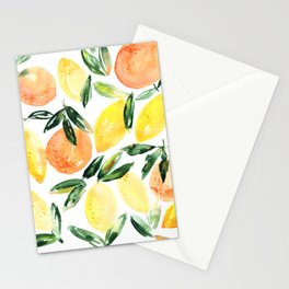 Sicilian orchard: lemons and oranges in watercolor, summer citrus Stationery Cards