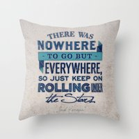kerouac Throw Pillows featuring Kerouac  by Matt Smiroldo