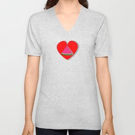 Watermelon In Red Heart Drawing Unisex V-Neck