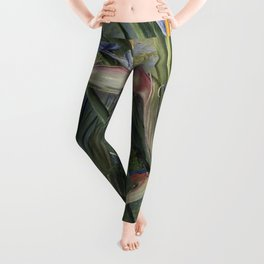 Bird of Paradise flowers and Hummingbirds still life painting Leggings