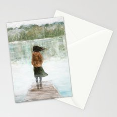 Girl on the pier Stationery Cards