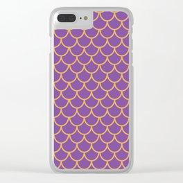 Mermaid Scales Pattern in Purple. Gold Scallops_Purple Clear iPhone Case