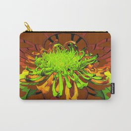 Chartreuse Spider Mum-Coffee brown & Yellow Abstract Carry-All Pouch