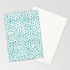 Aqua Blue Green Abstract Watercolor Stationery Cards