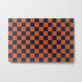 Orange and Navy Colors Checker Pattern Digital Design Metal Print