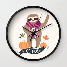 Comfy Sloth for the Fall & Pumpkin Wall Clock