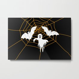Bats and Ghost white - black color Metal Print