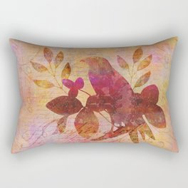 Bird and Leaf Illustration in warm colors Rectangular Pillow