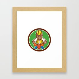 Gorilla Construction Jackhammer Circle Cartoon Framed Art Print