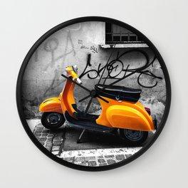Orange Vespa in Bologna Black and White Photography Wall Clock