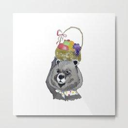 birthday bear with fruit basket Metal Print