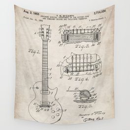 Gibson Guitar Patent - Les Paul Guitar Art - Antique Wall Tapestry