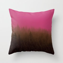 Pink & Chocolate Taffy Fog - Seward, Alaska Throw Pillow