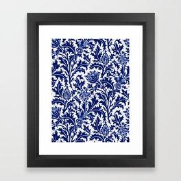 William Morris Thistle Damask, Cobalt Blue & White Framed Art Print