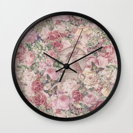 Romantic Flower Pattern And Birdcage Wall Clock