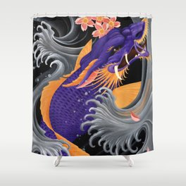 Purple Dragonkoi with Sakura Shower Curtain
